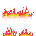 Flames set with reflection on white Royalty Free Stock Photo