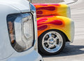 Flames at a traffic light Royalty Free Stock Photo