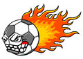 Flaming ball football soccer soccer with mean face football mascot vector illustration Stock Photo
