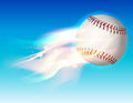 Flaming Baseball in the Sky Illustration Royalty Free Stock Photo