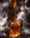 Flaming Bass Guitar Royalty Free Stock Image