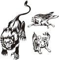 Flaming big cats. Stock Image