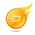 Flaming dash coin symbol, icon, sign, emblem. Vector illustratio