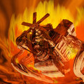 Flaming Engine Royalty Free Stock Photo