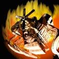 Flaming Engine Royalty Free Stock Photo
