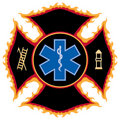 Flaming Fire Rescue Symbol Stock Photography