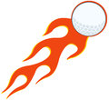Flaming golf ball cartoon character Royalty Free Stock Photography