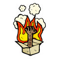 Flaming hand in box cartoon Royalty Free Stock Image