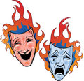 Flaming happy and sad theatre masks illustration Stock Photos