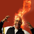 Flaming head with orange smoke man up Royalty Free Stock Photography