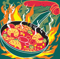 Flaming jambalaya stylized art of cajun or creole cooking Royalty Free Stock Images