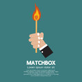 Flaming match stick in hand illustration Royalty Free Stock Images