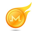 Flaming monero coin symbol, icon, sign, emblem. Vector illustrat