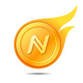 Flaming namecoin symbol, icon, sign, emblem. Vector illustration