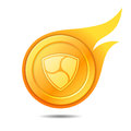 Flaming nem coin symbol, icon, sign, emblem. Vector illustration