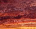 Flaming red orange sky at the evening twilight, orange sunset, colourful sunset, eartistic photo of evening twilight