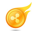 Flaming ripple coin symbol, icon, sign, emblem. Vector illustrat