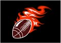 Flaming rugby ball speeding through the air with a motion trail of flames vector illustration on black Stock Photo