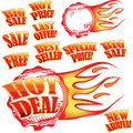 Flaming sale stickers and rubber stamp Stock Image