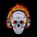 Flaming skull in headphones on black background Stock Image