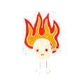 Flaming skull retro cartoon character Stock Image