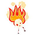 Flaming skull retro cartoon character Royalty Free Stock Photo
