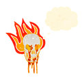 Flaming skull symbol cartoon Royalty Free Stock Photography
