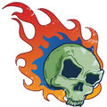 Flaming Skull Tattoo Style Vec...