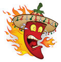 Flaming Sombrero Chili Pepper Royalty Free Stock Photos