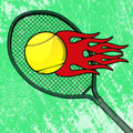 Flaming tennis ball offers a trail of fiery flames with a racquet and green court abstract background Royalty Free Stock Images