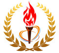 Flaming torch in laurel wreath Stock Photos