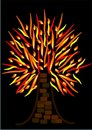 Flaming Tree or Burning Tree Royalty Free Stock Photos