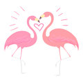 Flamingo Bird With Heart Vecto...