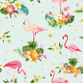 Flamingo bird and tropical flowers background retro seamless pattern in vector Royalty Free Stock Photos