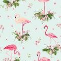 Flamingo Bird And Tropical Orc...