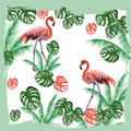 Flamingo birds and palm leaves