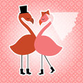 Flamingo birds wedding invitation adorable male and female with tophat veil and boots pretty background wallpaper Royalty Free Stock Photos