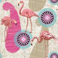 Flamingo on a colorful background. Seamless pattern with flamingos and tropical plants. Colorful pattern for textile