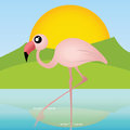 Flamingo cute walking on special abstract background Stock Photo