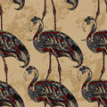 Flamingo decorated with floral ornaments on grunge background. Royalty Free Stock Photo
