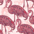 Flamingo decorated with oriental ornaments on grunge background. Royalty Free Stock Photo