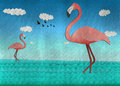 Flamingo at the lake form recycled papercut illustration of Stock Photography