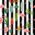 Flamingo leaves flowers seamless striped background Royalty Free Stock Photo