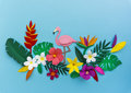 Flamingo Nature Papercraft Leaves Plants Concept Royalty Free Stock Photo