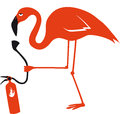 Flamingo pink bird burning with fire extinguisher water bird with a long neck and long legs elegant fragile bird Stock Photos