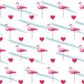 Flamingo seamless pattern . Heart pattern illustration. Royalty Free Stock Photo