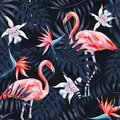 Flamingo strelitzia palm leaves dark background pattern Royalty Free Stock Photo
