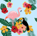 Flamingo and Toucan on Tropical Floral Background