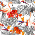 Flamingo, tropical leaves, exotic flowers. Seamless black-white background. Watercolor Royalty Free Stock Photo
