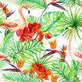 Flamingo, tropical leaves and exotic flowers. Seamless jungle pattern. Watercolor